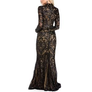 Windsor Dresses | Black Sequin Nude Mermaid Victorian Prom Dress ...